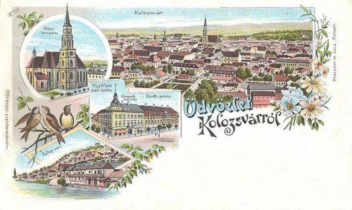 Kolozsvár:templom,Felleg vár,Központi szálló.litográfia. 1899