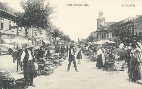 Kolozsvár:Deák Ferenc utca,piac.1910