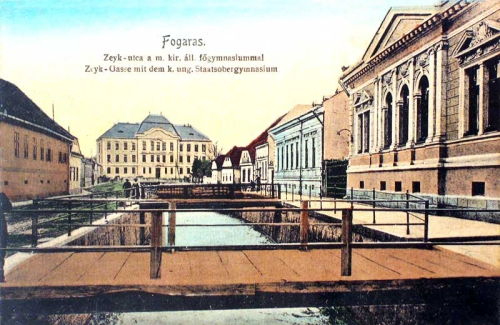 Fogaras:Zeyk utca a főgimnáziummal.1912