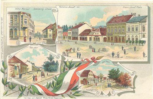 Fogaras,litográfia,Ferencz József tér,Vár tér,Sterzing utca.1900