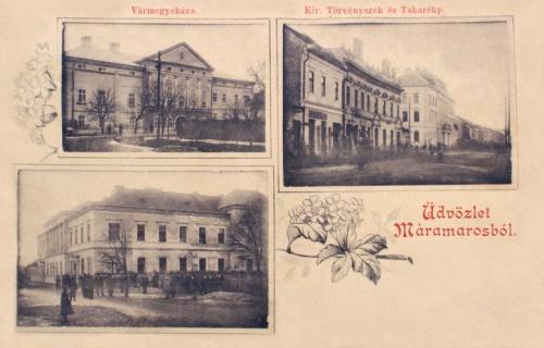 Máramarossziget:Vármegyeháza,Törvényszék,Takarékpénztár.1899