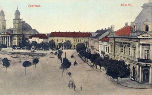 Szatmár:Deák Ferencz tér,balra a Székesegyház.1909