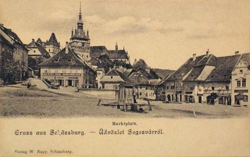 Segesvár:piac tér és óratorony.1902
