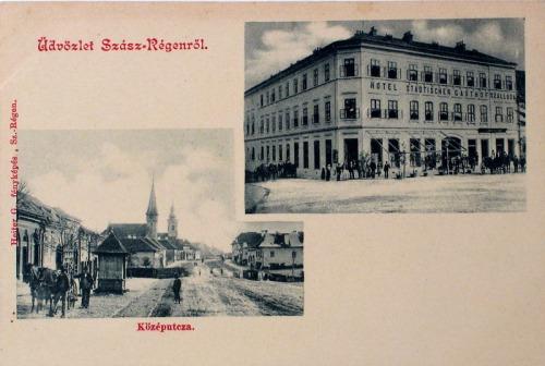 Szászrégen:városi szálloda és Közép utca.1904