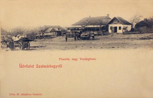 Szatmárhegy:piac tér a nagyvendéglővel.1901
