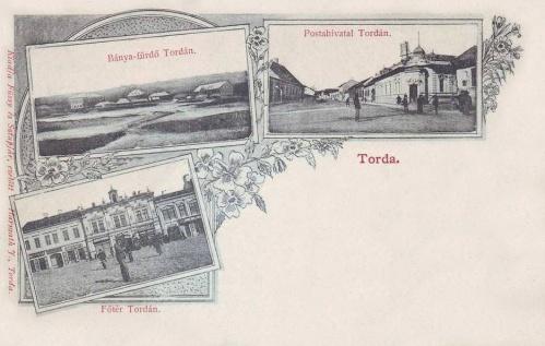 Torda:főtér,posta,fürdő.1902