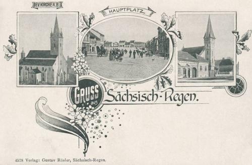 Szászrégen:főtér és református evangélikus templomok.1899