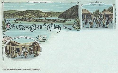 Ada-Kaleh szigete a Dunán,kőnyomat 1899