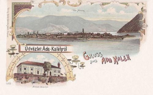Ada Kaleh:vár látképe és a mecset.1899