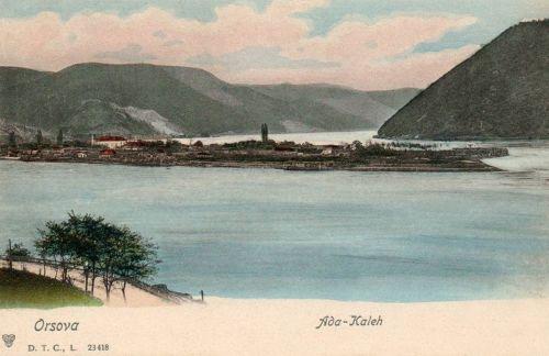 Ada Kaleh: sziget látképe a Dunán.1901