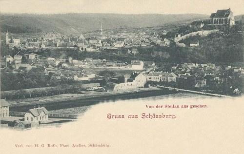 Segesvár:látkép,jobbra evangélikus templom.1903