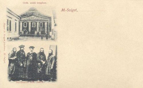 Máramarossziget:ortodox izraelita templom és ortodox zsidók.1903