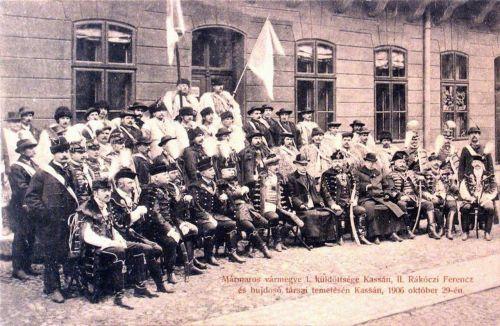 Máramaros vármegye küldöttsége II Rákóczi Ferencz temetésén Kassán.1906