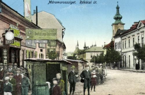Rákoczi út,református templom,bélyeg,dohány,szivar és órás üzlet,1917
