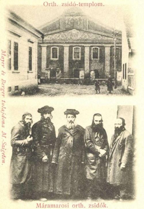 Máramarossziget:ortodox zsidók és templom,.1903.