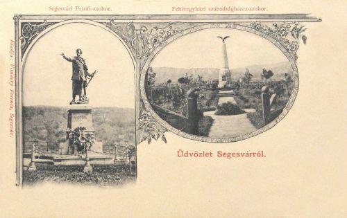 Segesvár:Petőfi szobor és fehéregyházi emlékmű.1904