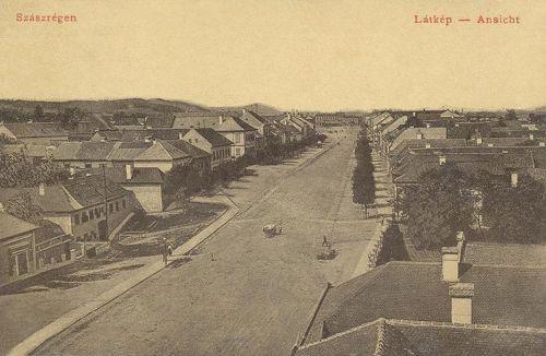 Szászrégen:látkép a Főtér felé.1908