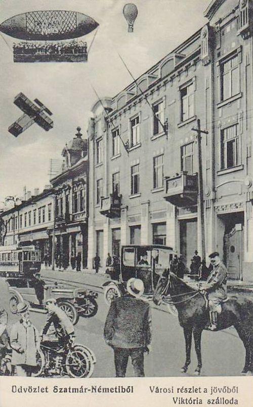Szatmárnémeti:városi részlet a jövőből,Viktória szálloda.1907