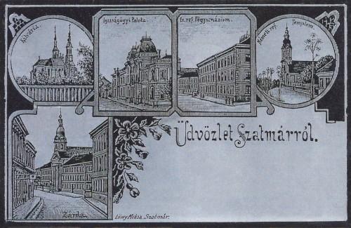ezüst kőnyomat,Kálvária,Zárda,Református Főgimnázium,Németi református templom.1899