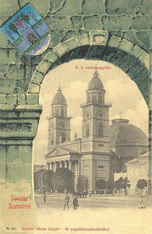 Szatmárnémeti,székesegyház a város cimerével. 1901