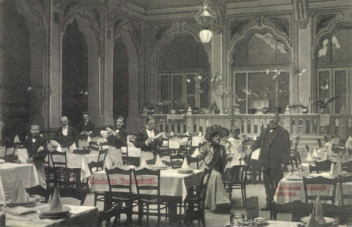Szatmárnémeti:Pannónia szálloda étterme,1908.