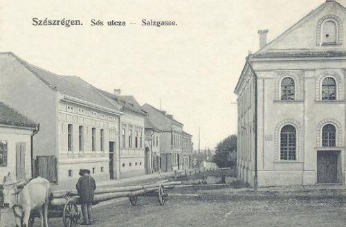 Szászrégen:Sós utca,jobbra zsinagóga (fát szállitó ökrös szekér).1913
