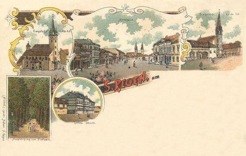 Szászrégen:evangélikus templom,városi park,gimnázium,Közép utca,kőnyomat.1898