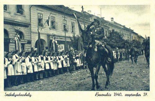 Székelyudvarhely:magyar honvédek bevonulása,1940 szeptember 17.