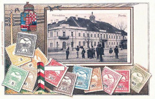 Torda-Thorenburg-Turda:városháza.(magyar cimer és bélyegek).1900