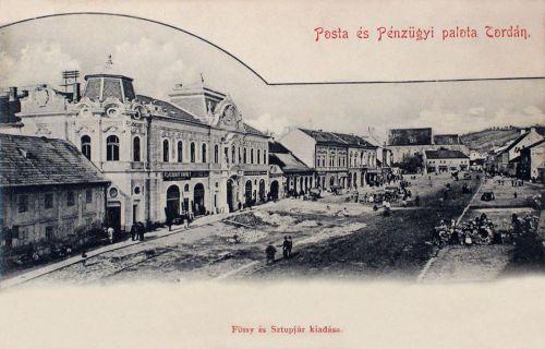 Torda,főtér:Posta és Pénzügyi Palota 1902
