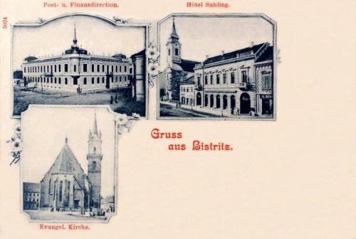 Beszterce:Posta és Adóhivatal,Evangélikus templom,Sahling Hotel.1902