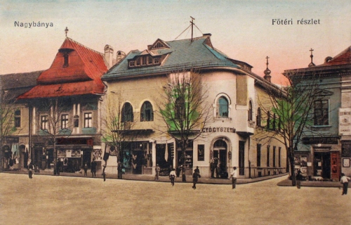 Nagybánya:főtéri részlet,gyógyszertár.1916