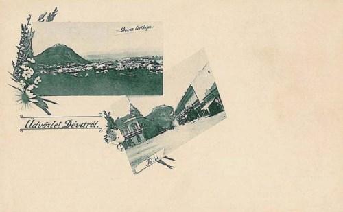 Déva:főtér és a vár látképe.1897