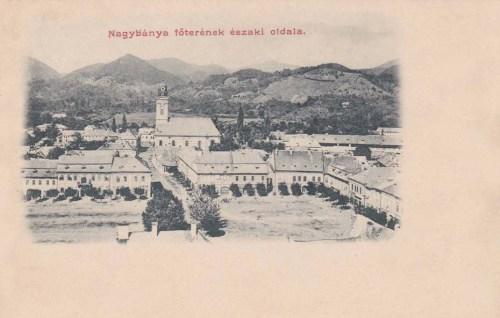 Nagybánya:főtér a templommal.1903