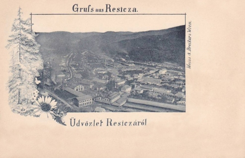 Resicza:látkép a gyárakkal.1897
