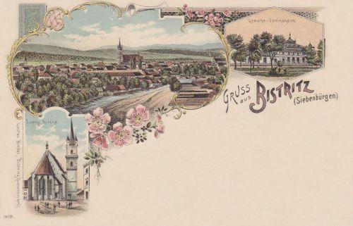 Beszterce-Bistritz-Bistrita:főtér, evangélikus templom,kőnyomat).1898