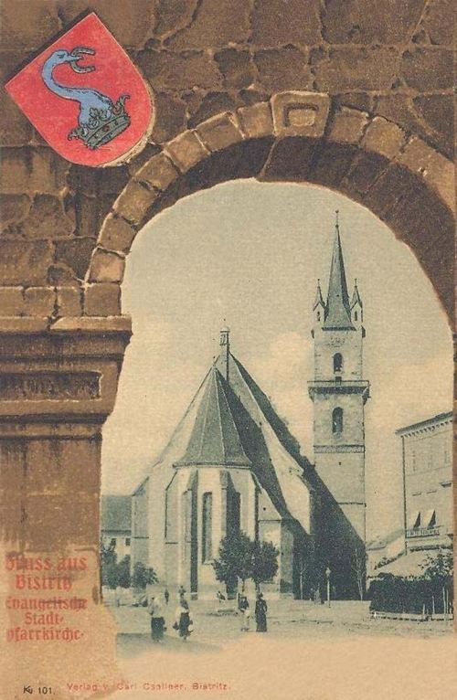 Beszterce:evangélikus templom,város cimere.1901