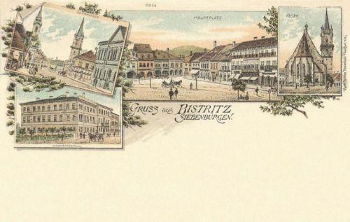 Beszterce-Bistritz-Bistrita:főtér,templom,Megyeháza.(kőnyomat).1899