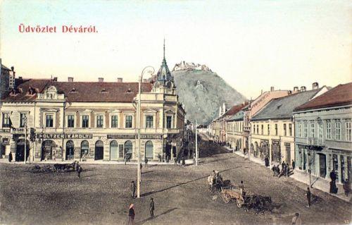 Déva:főtér és a vár.1909