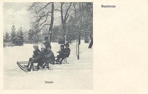 Beszterce:sétatér szánkózó gyerekekkel.1912
