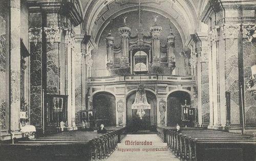 Máriaradna:kegytemplom belseje,orgona részlet.1909