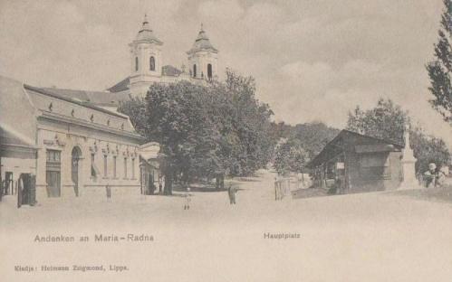 Máriaradna: főtér a kegytemplommal.1904