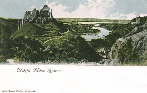 Máriaradna:solymosi vár és a templom látképe.1899