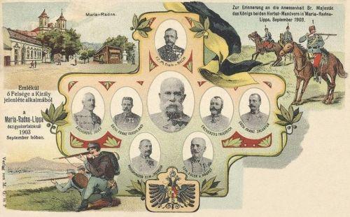 Máriaradna-Lippa:hadgyakorlat a király és a főhercegek részvételével.1903