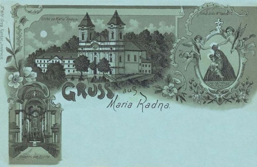 Máriaradna-Radna:kőnyomat,búcsújáró hely.1898