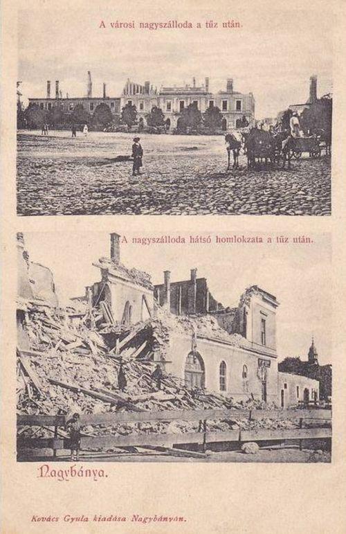 Nagybánya:szálloda tűz után.1902