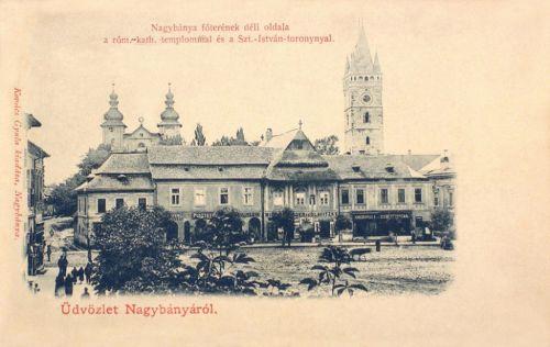 Nagybánya-Neustadt-Baia Mare:katolikus templom és Szent István-torony.1902