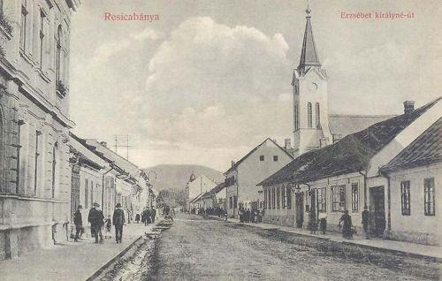Resicabánya:Erzsébet királyné út a templommal.1909