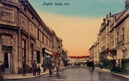 Lugos:Király utca,balra a Royal kávéház.1914
