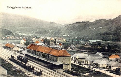Gyimes:látkép a vasútállomással.1908